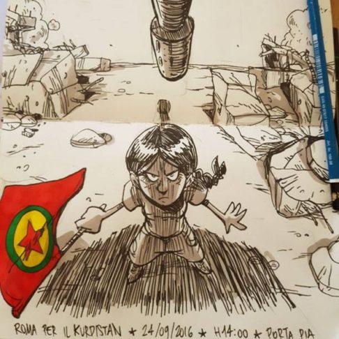 Disegno diffuso su facebook da Zerocalcare per il corteo per il Kurdistan